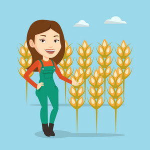 Female caucasian farmer standing on the background of wheat field. Smiling female farmer working in wheat field. Cheerful farmer checking wheat harvest. Vector flat design illustration. Square layout.