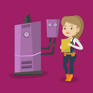 Female caucasian plumber making some notes in her clipboard. Plumber inspecting heating system in boiler room. Female plumber in overalls at work. Vector flat design illustration. Square layout.