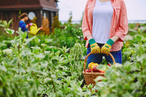 Female farmer standing in her garden with big basket full of vegetables