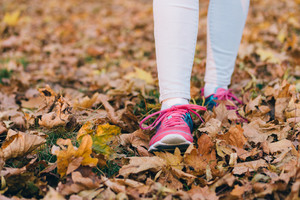 Female feet in jeans and pink sneakers walking on fallen autumn leaves