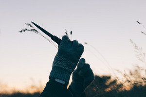Female hands in gloves cut grass with scissors at sunset