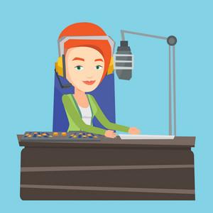 Female radio dj working in front of microphone, computer and mixing console on radio. Caucasian female dj in headset working on a radio station. Vector flat design illustration. Square layout.