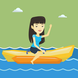 Female tourists riding a banana boat and waving hand. Young happy asian woman having fun on banana boat in the sea. Woman enjoying her summer vacation. Vector flat design illustration. Square layout.