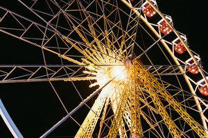 Ferris wheel at night in the park, bottom view