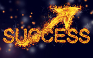 Fiery Success with  Arrows on Dark Blue Black background