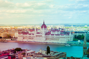 Filtered vintage view of Pest side of Budapest across the Danube, with the beautiful building of the Parliament, Hungary