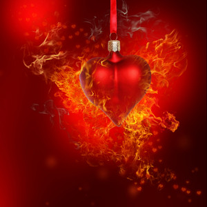 Fire Heart Bauble on Red Background