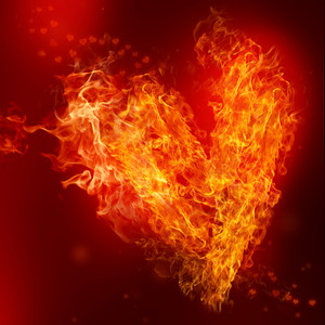 Fire Heart with small hearts on red background