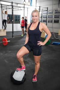 Fitness woman with medicine ball