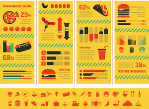 Flat Fastfood Infographic Elements plus Icon Set. Vector.