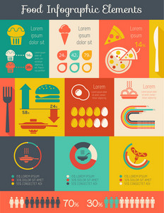 Flat Food Infographic Elements plus Icon Set. Vector.