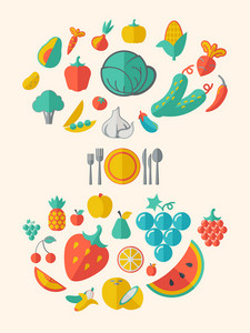 Flat Healthy Food Infographic Elements. Icon Set. Vector.