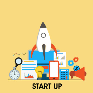 Flat style illustration of flying rocket with various elements set for Start Up New Business Project.
