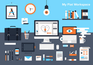 Flat vector illustration of designer's workplace.