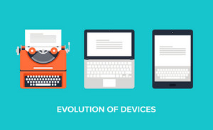 Flat vector illustration of evolution of devices from typewriter to laptop and tablet.