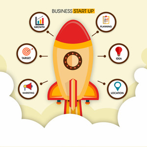 Flying Rocket with different infographic elements for New Business Start Up concept.