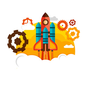 Flying Rocket with gear symbols for New Business Project Start Up concept.