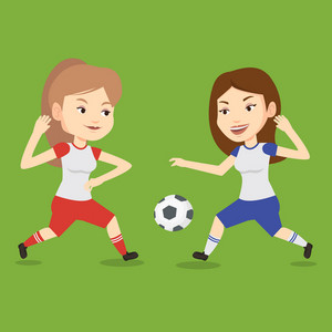 Football players in action during a champions league match. Two female soccer players fighting over control of ball during a football match at stadium. Vector flat design illustration. Square layout.