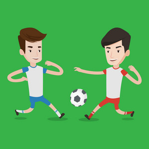 Football players in action during a champions league match. Two male soccer players fighting over control of ball during a football match at stadium. Vector flat design illustration. Square layout.