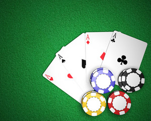 Four Aces and Poker Chips