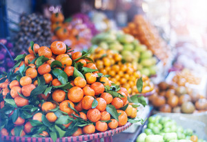 Fresh fruit on traditional street market in Sapa, Vietnam.