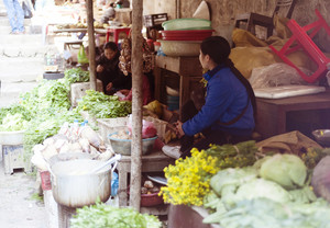 Fresh vegetable on traditional street market in Sapa, Vietnam.