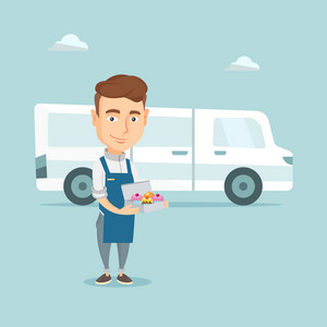 Friendly delivery man holding a box of cakes. Caucasian baker delivering cakes. Young man with cupcakes standing on the background of delivery truck. Vector flat design illustration. Square layout.