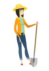 Friendly female asian farmer standing with a shovel. Full length of young farmer in summer hat holding a shovel. Gardener with a spade. Vector flat design illustration isolated on white background.