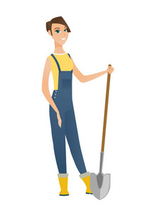 Friendly female caucasian farmer standing with shovel. Full length of young farmer in overalls holding a shovel. Gardener with a spade. Vector flat design illustration isolated on white background.