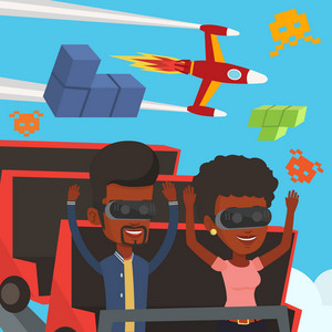 Friends in virtual reality headset riding on roller coaster. African-american fiends in virtual reality glasses having fun in virtual amusement park. Vector flat design illustration. Square layout.