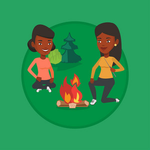 Friends sitting around campfire. Friends having fun in camping. Tourists relaxing near campfire. Concept of travel and tourism. Vector flat design illustration in the circle isolated on background.