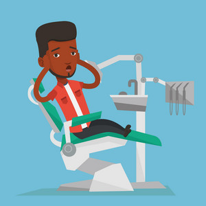 Frightened african-american patient at dentist office. Scared young man in dental clinic. Man visiting dentist. Afraid man sitting in dental chair. Vector flat design illustration. Square layout