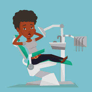 Frightened african-american patient at dentist office. Scared young woman in dental clinic. Woman visiting dentist. Afraid woman sitting in dental chair. Vector flat design illustration. Square layout