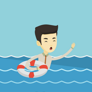 Frightened business man in suit sinking and asking for help. Afraid asian business man with lifebuoy sinking and waving. Concept of failure in business. Vector flat design illustration. Square layout.