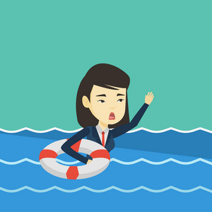Frightened business woman sinking and asking for help. Afraid asian business woman with lifebuoy sinking and waving. Concept of failure in business. Vector flat design illustration. Square layout.