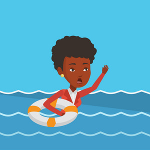 Frightened business woman sinking and asking for help. African-american business woman with lifebuoy sinking and waving. Concept of failure in business. Vector flat design illustration. Square layout.