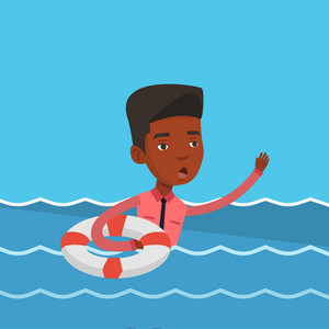 Frightened businessman sinking and asking for help. An african-american businessman with lifebuoy sinking and waving. Concept of failure in business. Vector flat design illustration. Square layout.