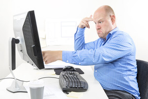 Frustrated businessman with problems at work