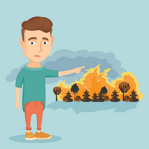 Frustrated man standing on the background of a big forest fire. Young caucasian man pointing at forest in fire. Concept of environmental destruction. Vector flat design illustration. Square layout.