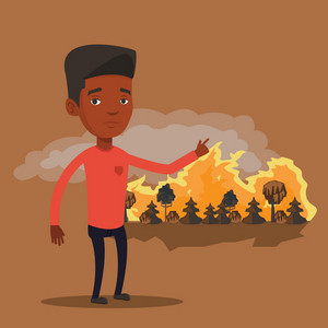 Frustrated man standing on the background of forest fire. An african-american man pointing at forest in fire. Concept of environmental destruction. Vector flat design illustration. Square layout.