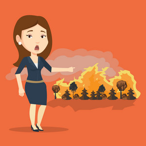 Frustrated woman standing on the background of a big forest fire. Caucasian woman pointing at forest in fire. Concept of environmental destruction. Vector flat design illustration. Square layout.