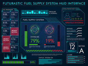Fuel Supply System HUD Interface layout, Big set of Statistical Infographic and Web UI elements, Futuristic virtual user interface, Abstract Business background with graphs, charts and rating.