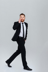 Full length bearded business man in black suit moves with hand in pocket and talking at phone. Isolated gray background