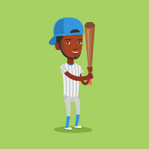 Full length of african-american smiling baseball player in uniform. Professional baseball player standing with a bat. Cheerful baseball player in action. Vector flat design illustration. Square layout