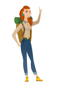 Full length of young african traveler pointing her finger up. Excited traveler pointing with her finger. Traveler with finger pointing up. Vector flat design illustration isolated on white background.