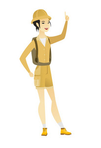 Full length of young asian traveler pointing her finger up. Excited traveler pointing with her finger. Traveler with finger pointing up. Vector flat design illustration isolated on white background.
