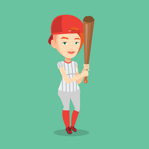 Full length of young caucasian smiling baseball player in uniform. Professional baseball player standing with a bat. Cheerful baseball player in action. Vector flat design illustration. Square layout.