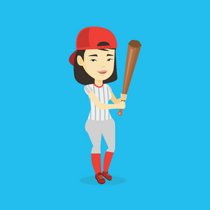 Full length of young smiling asian baseball player wearing uniform. Professional baseball player standing with bat. Cheerful baseball player in action. Vector flat design illustration. Square layout.
