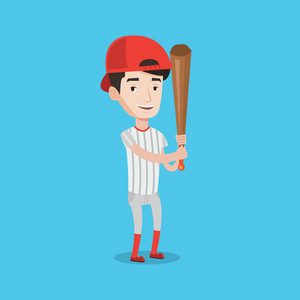 Full length of young smiling baseball player wearing uniform. Professional baseball player standing with a bat. Cheerful baseball player in action. Vector flat design illustration. Square layout.