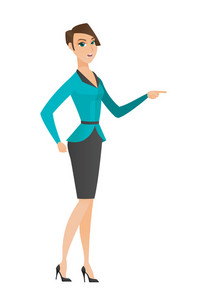 Furious business woman screaming and pointing her finger to the right. Full length of business woman screaming and shaking her finger. Vector flat design illustration isolated on white background.
